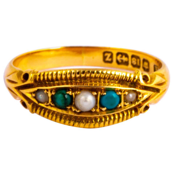 Edwardian 18 Carat Gold Pearl and Turquoise Five-Stone Ring