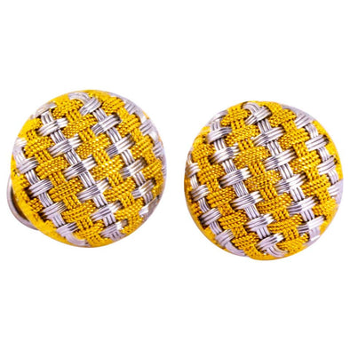 Vintage 18 Carat White and Yellow Gold Basket Weave Stud Earrings
