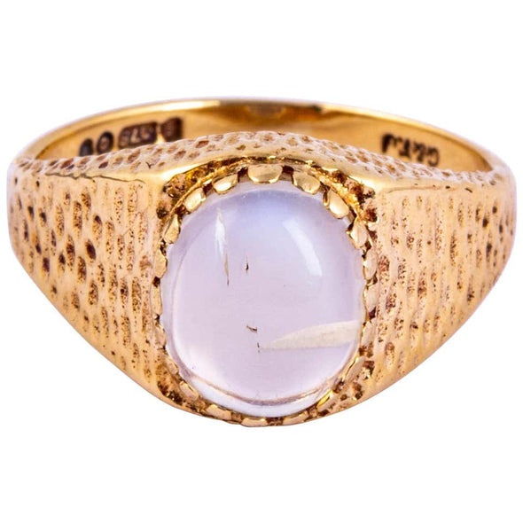 Vintage Moonstone and 9 Carat Gold Signet Ring