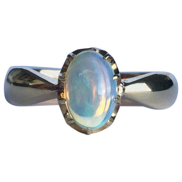 Vintage Opal and 9 Carat Gold Solitaire Ring