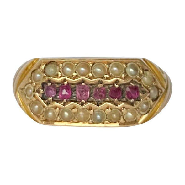 Victorian Ruby and Pearl 15 Carat Gold Ring