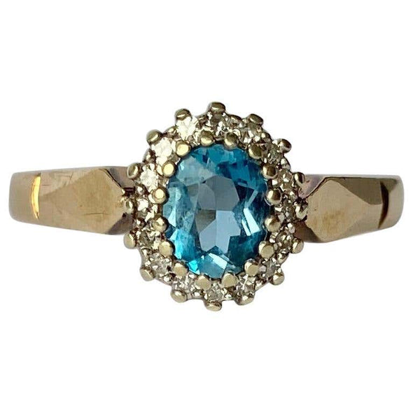 Vintage Spinel and Diamond 9 Carat Gold Cluster Ring