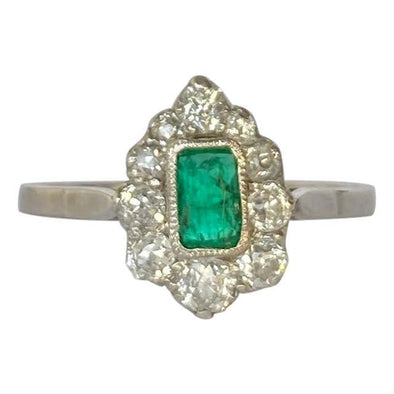 Art Deco Diamond and Emerald Platinum Ring