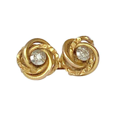 Vintage Diamond and 9 Carat Gold Knot Stud Earrings
