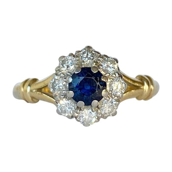 Art Deco Sapphire and Diamond 18 Carat and Platinum Cluster Ring