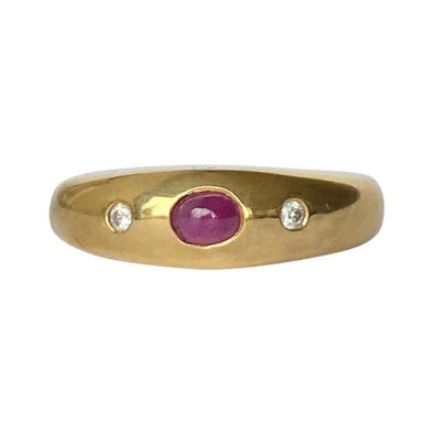 Art Deco Ruby and Diamond 18 Carat Gold Band