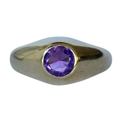 Modern Amethyst and 9 Carat Gold Band
