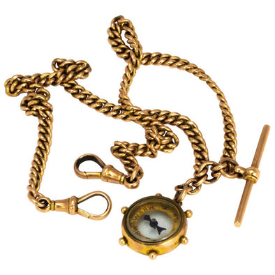Victorian 9 Carat Gold Double Albert Chain with Compass