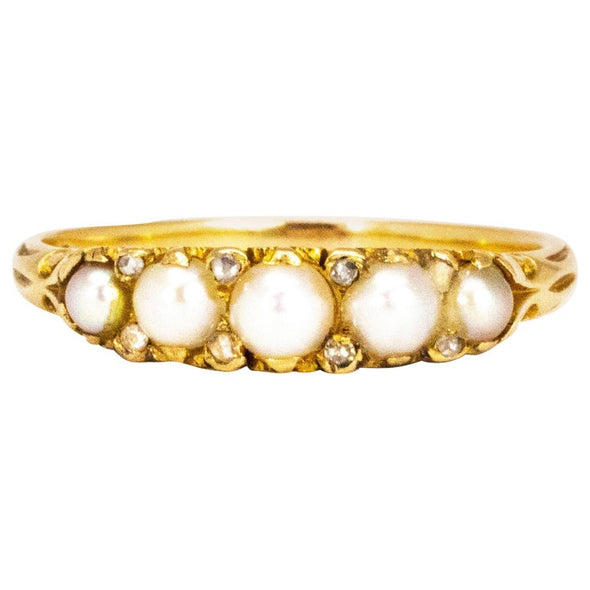 Vintage Pearl and Diamond 18 Carat Gold Five-Stone Ring