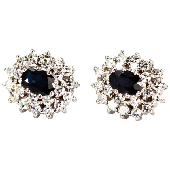 Vintage Sapphire and Diamond White Gold Stud Cluster Earrings