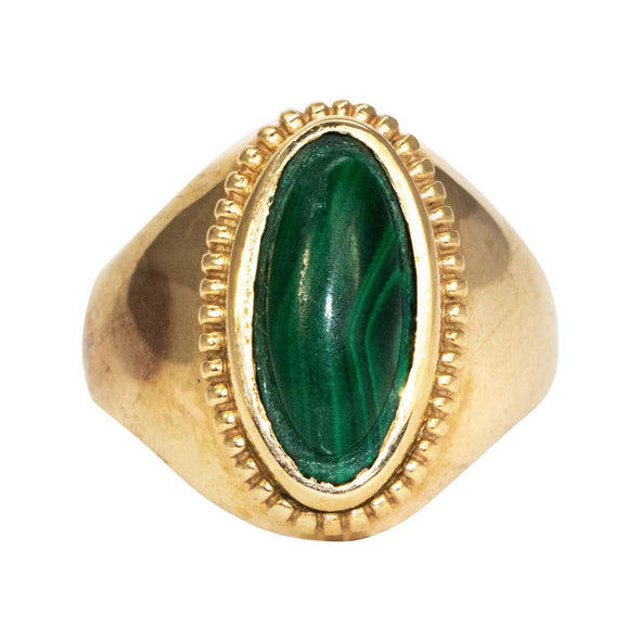 Vintage Malachite and 9 Carat Gold Signet Ring