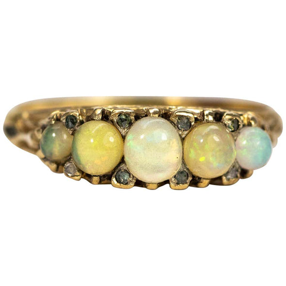 Edwardian Cabochon Opal and Diamond 15 Carat Gold Five Stone Band
