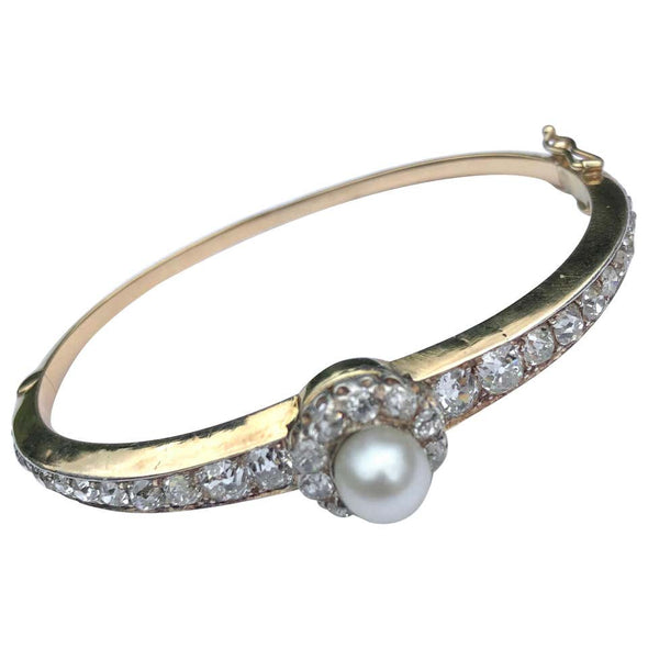 Antique Diamond and Natural Pearl 18 Carat Gold Bangle