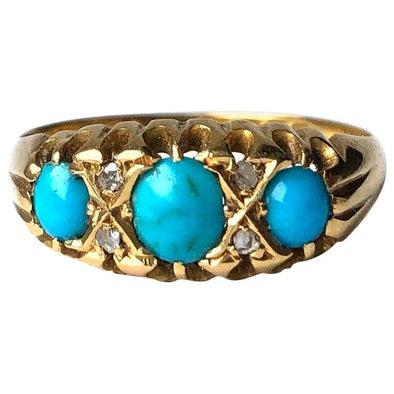 Edwardian Turquoise and Diamond 18 Carat Gold Three-Stone Ring