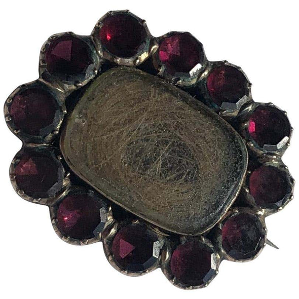 Georgian Flat Cut Garnet and Gold Mourning Brooch