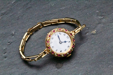 Antique ladies Ruby and Pearl Expandable Watch