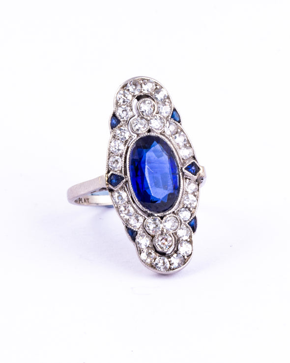 Art Deco Sapphire and Diamond Platinum Panel Ring