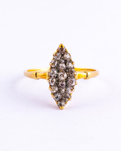 Edwardian Diamond and 18 Carat Gold Marquise Ring