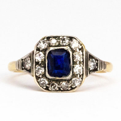 Edwardian Sapphire and Diamond 18 Carat Gold Cluster Ring