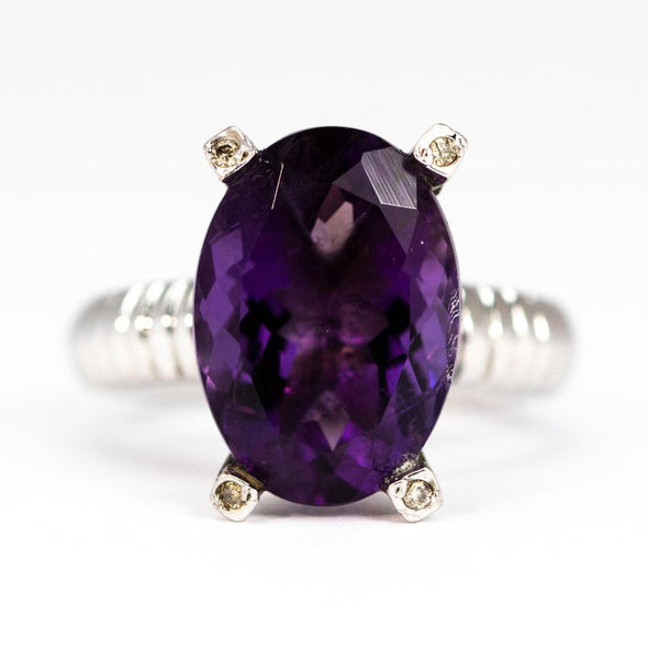 Vintage Amethyst and Diamond Silver Cocktail Ring
