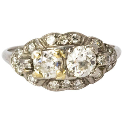 Edwardian Diamond Moi Et Toi Platinum Ring