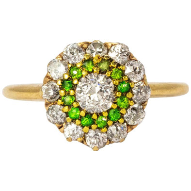 Art Deco Diamond and Demantoid Garnet Cluster Ring