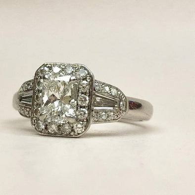 Vintage Certified F Color Phoenix Cut Diamond and Platinum Cluster Ring