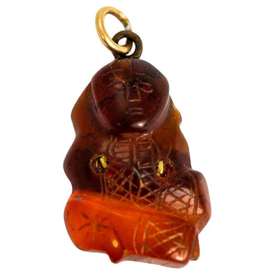Antique Gold and Carved Amber Buddha Pendant