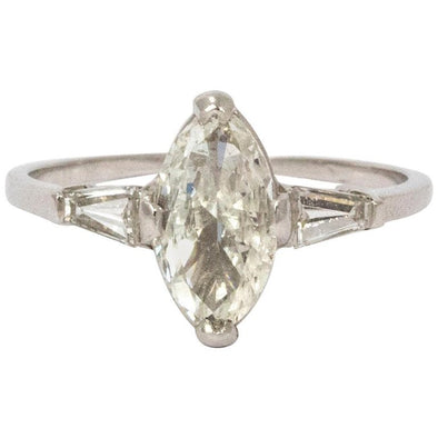 1930s Navette Diamond Platinum Ring