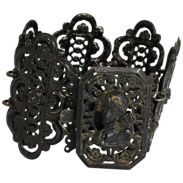 Victorian Berlin Iron Work Panel Cuff Bracelet