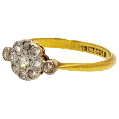 Edwardian Diamond and 18 Carat Cluster Ring