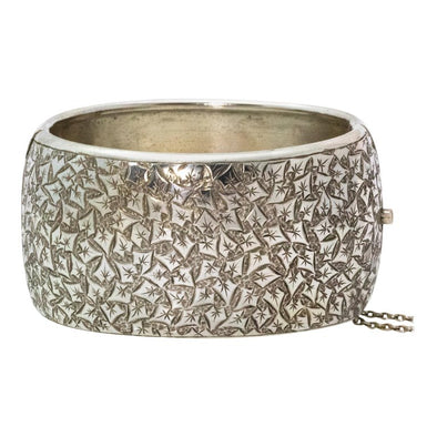 Vintage Silver Finely Engraved Bangle