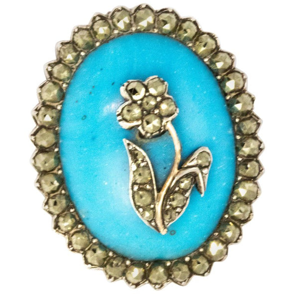 Edwardian Blue Resin Marcasite Brooch