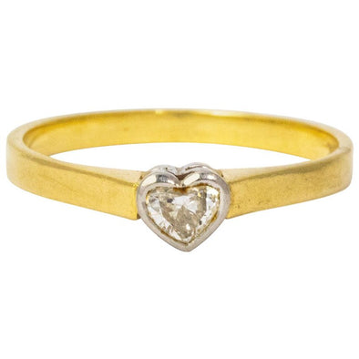 Vintage Diamond Heart Platinum 18 Carat Gold Ring