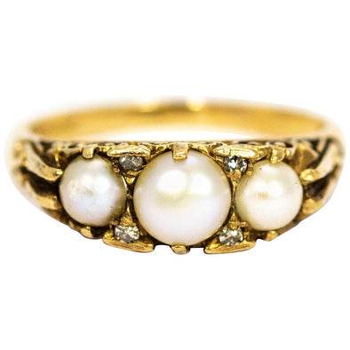 Vintage 9 Carat Gold Pearl and Diamond Three-Stone Ring