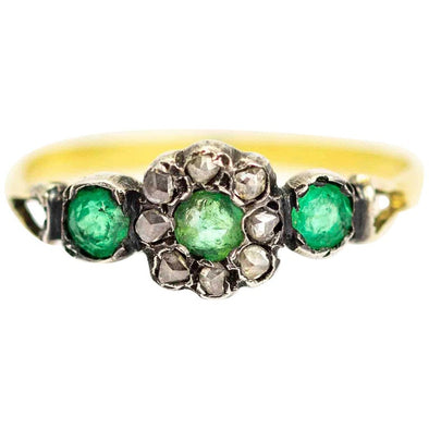 Georgian 9 Carat Gold Diamond and Green Paste Cluster Ring