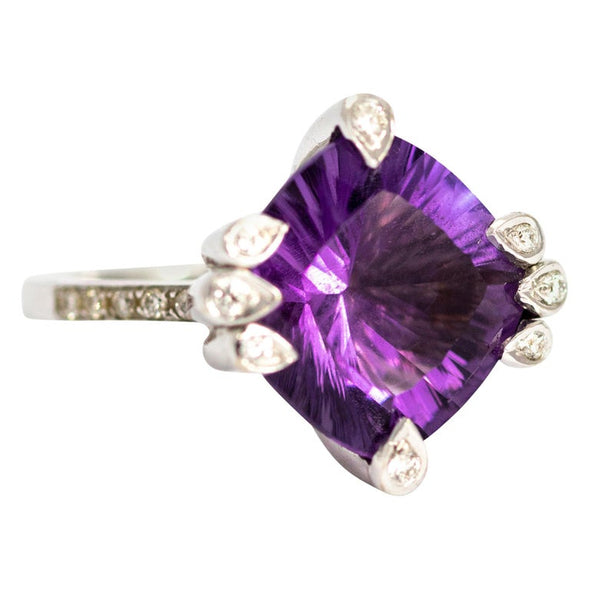 Vintage Amethyst and Diamond 18 Carat White Gold Abstract Ring