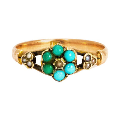 Mid-19th Century Turquoise and Pearl 15 Carat Gold Ring