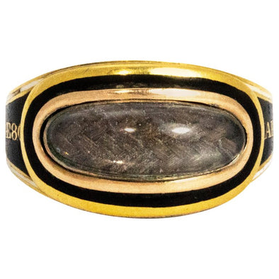 Antique Georgian Enamel and Crystal Cabochon 18 Carat Gold Mourning Ring