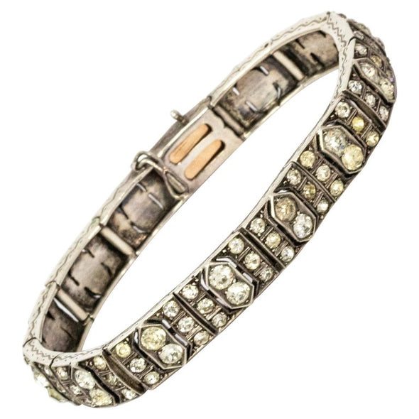 Art Deco Paste White Gold Bracelet