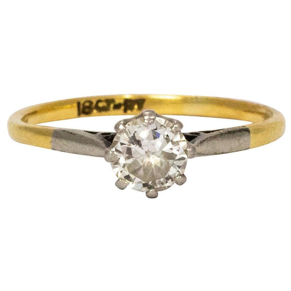 Edwardian Diamond Platinum and 18 Karat Yellow Gold Solitaire Ring