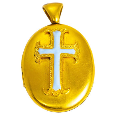 Victorian 18 Carat Gold Blue Enamel Cross Locket