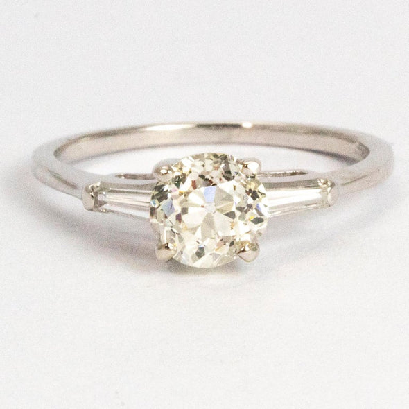 Vintage Diamond and 14 Carat White Gold Solitaire Ring