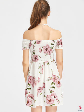 Bardot Ditsy Floral Print Off Shoulder Smock Dress