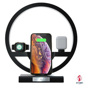 3 IN 1 QI Fast Wireless Charger Dock for iPhone 11 Pro Max for Apple Watch iWatch 1 2 3 4 5 Airpods Charger Holder LED Lamp by Getitchoosy