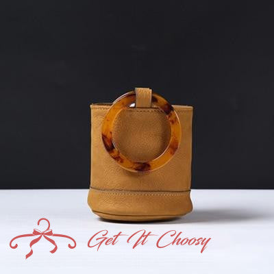 Luxury Handbags Women Bag Famous Metal Wood Handle HandBag Female Vintage Crossbody Bucket Bag by Getitchoosy