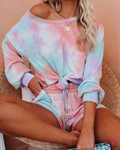 Tie Dye Colorful Print 2 Piece Set Summer Gradient Colored Long SleeveTop Wide Leg Shorts Pants Set Women Tracksuit Streetwear