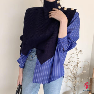 Korean Chic High Collar Side Buttons Fake Two-piece Shirt Stitching Striped Bubble Sleeve Sweater Blue women