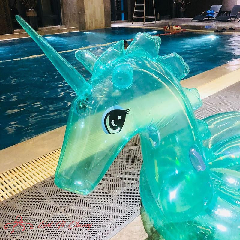 240cm Giant Glitter Unicorn Pool Float Inflatable Magical Unicorn Pool Float with Glitter Inside Summer Water Toys Swimming Ring by Getitchoosy