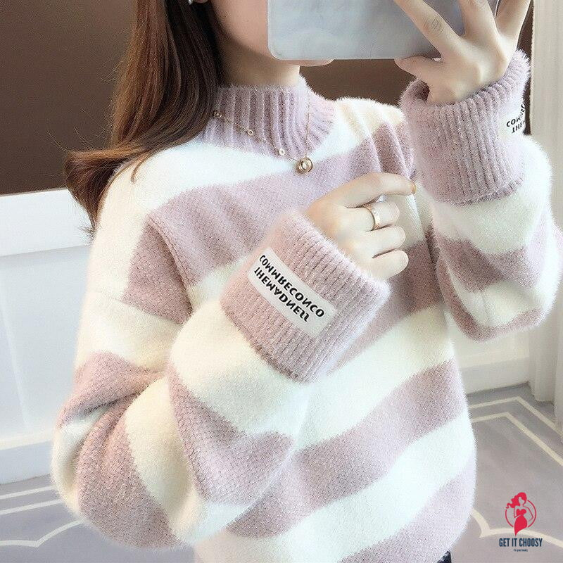 Sweater Women Turtleneck Pullover Jumper Stripe Thick Sweater Imitated Mink Wool Sweater Sweter Women Clothes - Get It Choosy